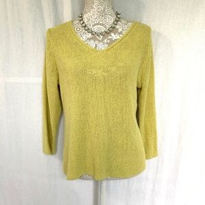 Eileen Fisher // Green Silk Open Knit Sweater M